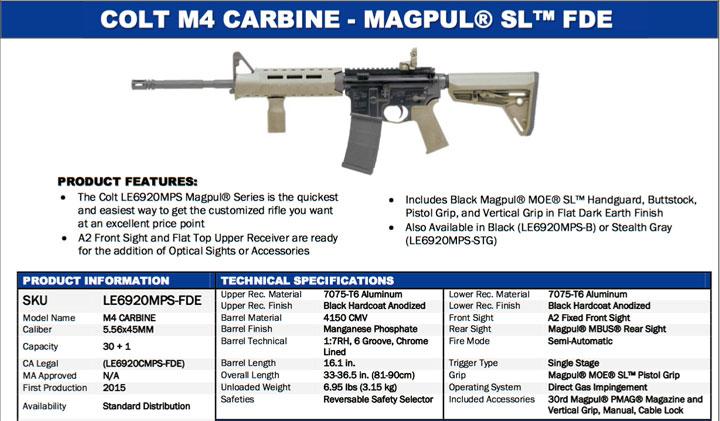 Colt LE6920MPS-FDE Magpul MOE SL FDE