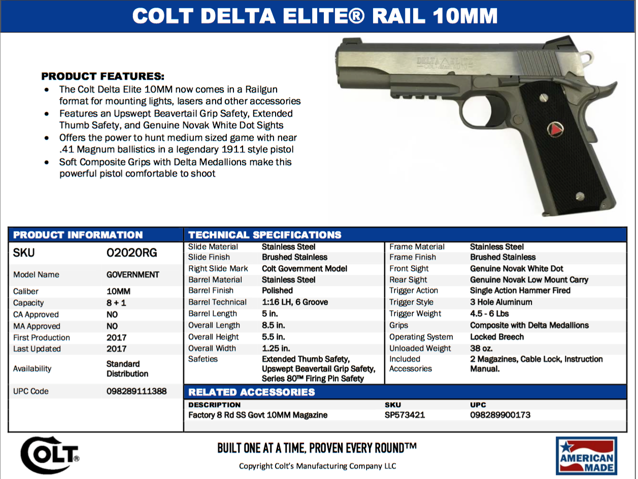 Colt Delta Elite 10mm Rail Gun