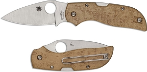 Spyderco Chaparral Knife  CTS XHP Leaf Blade  Birdseye Maple Back Lock
