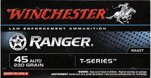 Winchester Ranger T-Series 45 230gr Jacketed Hollow Point Ammo - Box of 50