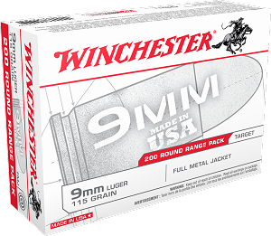 Winchester 9mm 115gr FMJ 200rd White Box