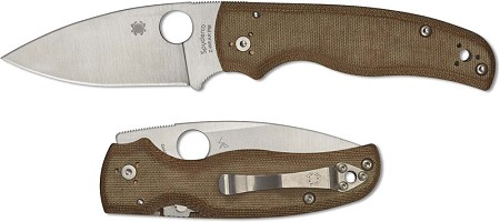 Spyderco Shaman Knife  Z-Wear PM Blade  Brown Canvas Micarta Handle  Sprint Run