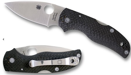 "Spyderco Native 5 Folding Knife 2.95"" S90V Satin Plain Blade, Fluted Carbon Fiber Handles"