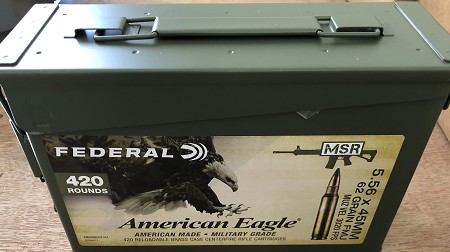 Federal American Eagle XM855 420rds 62gr FMJ W/Ammo Can