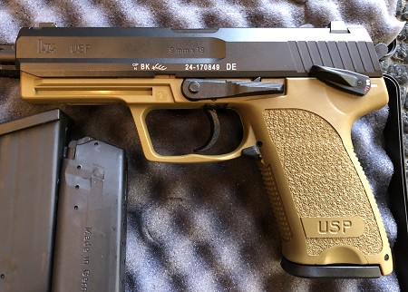 HK USP9 V1 DA/SA W/Safety Decocker FDE X 2 Mags