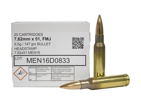 MEN 7.62x51mm NATO Ammo 147 Grain Full Metal Jacket 320rd Box