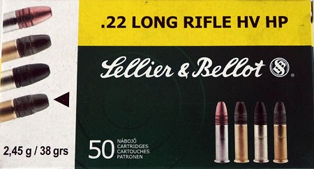 Sellier and Bellot .22LR HP 38gr High Velocity
